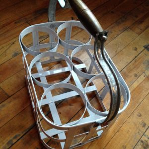 White Metal bottle tray